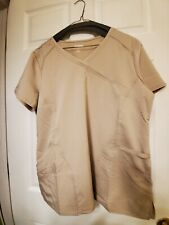 Nwot-Scrubstar- L- Scrub Top-Khaki mock wrap front w/2 patch pockets-stretchy!