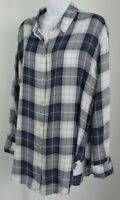 Treasure & Bond long sleeve plaid shirt large button up blue white cut out back