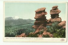 Pikes Peak and the Siamese Twins, Garden of the Gods, Colorado, USA old postcard
