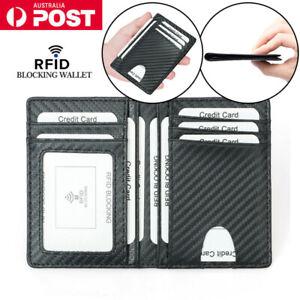 Mens ID Credit Card Holder Leather Bifold Cash Wallet RFID Blocking Slim Purse