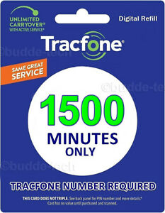 TracPhone Tracfone - 1500 Minutes only Airtime PIN # Smartphone Trackphone