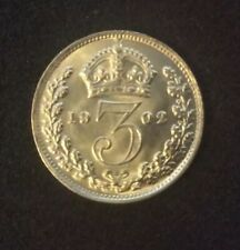 More details for 1902 3d threepence uncirculated silver coin- king edward vii