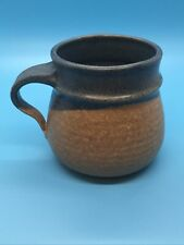 Pottery Mug Blue and Tan Stamped Asher Approx 4 inches x 5 inches