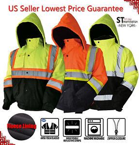 Hi Vis Class 3 Insulated Safety Jacket Bomber Jacket Coat Fleece Reflective