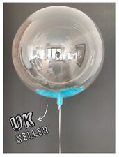 """36"""" Giant Clear Bubble Baby Blue Feather Balloon Wedding Baby Shower Birthday UK"""