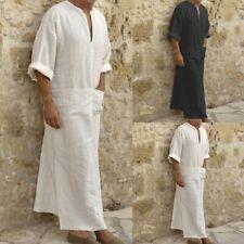 Men Dress Clothes Ethnic Robes Loose Solid Half Sleeve Dress Kaftan Casual Wear