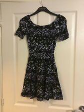 H&M black floral mini skater dress 6 Asos