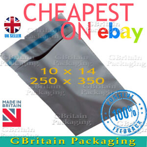 50 GREY MAILING BAGS 10 x 14 STRONG POLY POSTAGE QUALITY SELF SEAL POSTAL BAGS