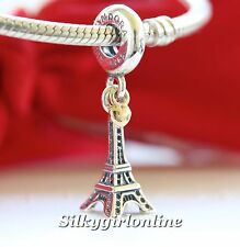 Authentic Pandora Sterling Silver & 14 K Gold Eiffel Tower Pendant Charm 791302