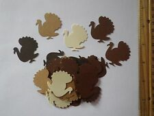 30 Fiskars Turkey Paper Die Cut Punches Cake Toppers Confetti Scatter in Browns