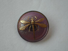 Czech Glass Button, 31mm diameter, Gold Dragonfly on taupe glass, Item 302