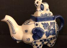 Stunning blue and white ceramic elephant tea pot Made in China vase