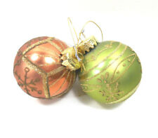 Copper and Green Glass Snowflake Ball Ornaments Lot of 2