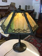 Antique Arts And Crafts 6 Panel Slag Glass Table Lamp
