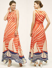ANTHROPOLOGIE Eva Franco NWT Harbor Maxi Dress Orange Navy Cream Sz 2P XS $188