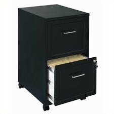 Space Solutions 18 Metal 2 Drawer Mobile Smart Vertical File Cabinet Black