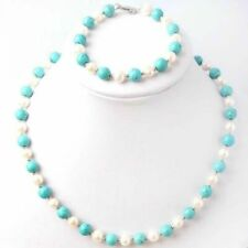 Natural 7-8mm White Freshwater Pearl & Turquoise Necklace Bracelet Jewel Set