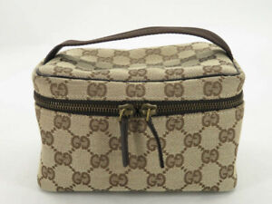 GUCCI GG CANVAS LEATHER VANITY HAND BAG POUCH EY608