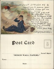 Bosch Wall Paper - Man Run Off Road by Car Fold Open Advert Postcard