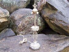 Antique Art Nouveau Stained Slag Glass Lamp Base Leaded Reverse Paint