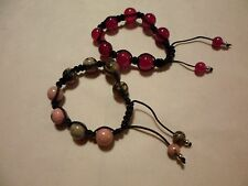 Rhondite & Fuchsia Agate Set of Bracelets w/925 Sterling Accents-219.00 Carats