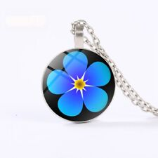 Eastern Star Masonic FORGET ME NOT Glass Dome Pendant Necklace (READ the STORY
