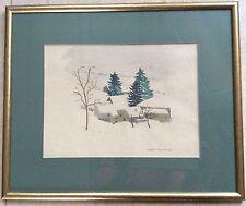 P. FLANDRIN .XXème Ec.Fr Crayon Et Gouache Paysage De Neige Figuratif Naïf