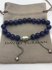 David Yurman 925 Sterling Silver 8mm Beads Lapis Lazuli Adjustable Bracelet