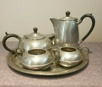 Antique 1950's Hall Brothers Sheffield Hand-Beaten Pewter Tea Service (5 Pieces)