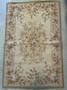 Floral Hand Woven Rug; Floral and Leaf Pattern