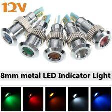 12V 8mm Metal LED Dash Panel Warning Indicator Signal Pilot Light Waterproof