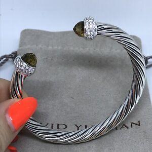 David Yurman 925 Sterling Silver Cable Candy 7mm Smoky Topaz & Diamond Bracelet
