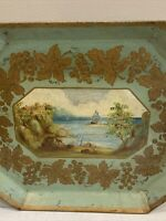 "Vintage Hand Painted Blue Gold Seascape Metal Tray Toleware Americana Lg 24""x18"""