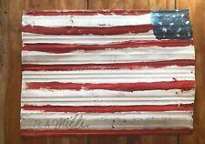 R.A. Miller Painted Metal Flag Outsider Folk Art