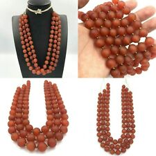 SALE !! 3 Strand Antique 10MM Old Carnelian Agate Stone Beads Strand Necklace