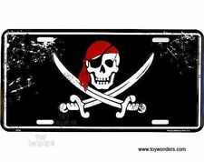 "Jolly Roger Red Hat Skull and Swords Pirate 6""x12"" Aluminum License Plate Tag"