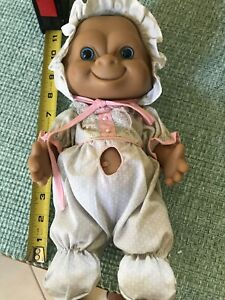 "VINTAGE Russ 10"" Baby Troll Doll with Baby Clothes- Pre Owned"