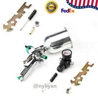 US 600CC 2.5mm HVLP Spray Gun Gravity Feed Gauge Flake Primer Nozzle