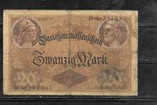 GERMANY #48a 1914 20 MARK GOOD CIRCULATED OLD BANKNOTE PAPER MONEY  BILL NOTE