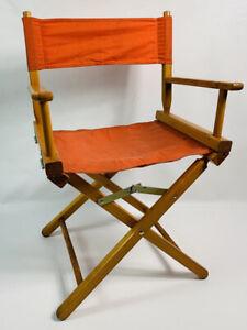 Vintage MCM Commander Directors Folding Chair Mid Century Modern Orange Wood
