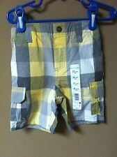 WonderKids Infant Boys Yellow Plaid Shorts Size 12 Months NWT