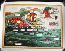 Dinosaur art print poster brontosaurus stegosaurus Pterodactyl T Rex
