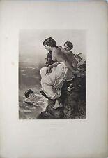 WILHELM KRAY - SWIMMING SCHOOL - ORIGINAL PHOTOGRAVURE PRINT - 1880's