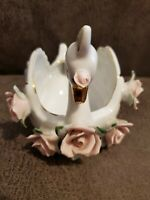 Vintage Napco Japan Swan Ceramic White Pink Flowers Gold Trim Trinket Dish