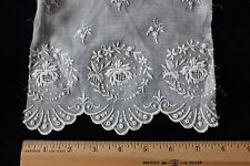 Antique Hand & Machine Embroidered Roses On Fine Cotton Muslin c1890~Dolls