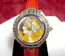MICHAEL VALITUTTI GEMS EN VOGUE 925 NH MAIDEN WARIER HAND PAINTED WATCH RUNS