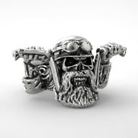 Men's  Punk Bearded Skull Ring Biker Motorcycle Ring #zx