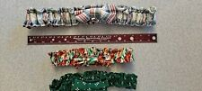 Longaberger Fabric Garters Lot of 3 Small Medium Floral Plaid Green Pre-owned