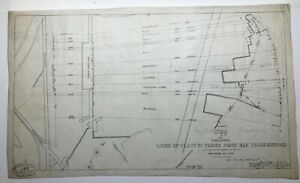 Antique Original 1854 Mylar of Lines of Flats in Prison Point Bay, Charlestown