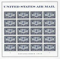 Air Mail Jenny Plane in Blue Forever Sheet of 20 Postage Stamps Scott 5281
